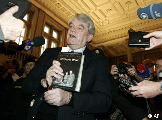 Irving brought a copy of his controversial book Hitler's War to court Monday