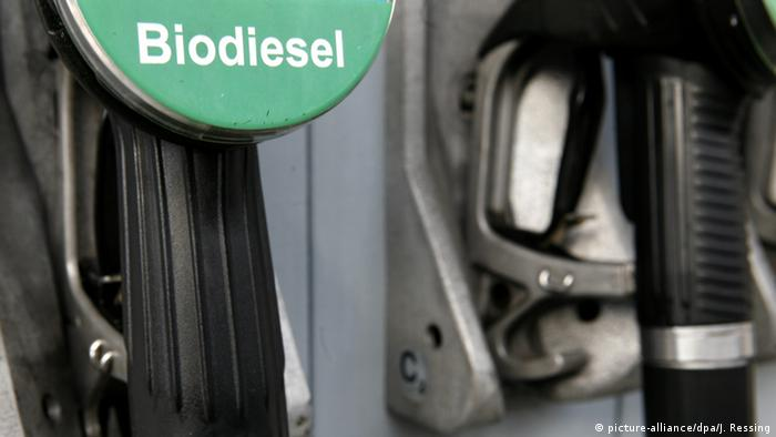 Biodiesel sign at fuel pump (picture-alliance/dpa/J. Ressing)