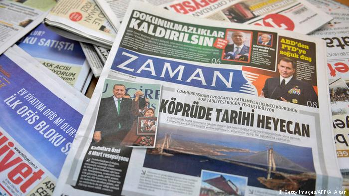 A photo taken in Ankara on March 6, 2016 shows the front page of the first new edition of the Turkish daily newspaper Zaman ADEM ALTAN/AFP/Getty Images