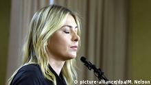 07.03.2016 +++++ epa05199996 Russian tennis player Maria Sharapova announces that she has tested positive for a banned substance at a press conference at the LA Downtown Hotel in Los Angeles, California, USA, 07 March 2016. Sharapova said she failed a drug test at the Australian Open in January. EPA/MIKE NELSON +++(c) dpa - Bildfunk+++ Copyright: picture-alliance/dpa/M. Nelson