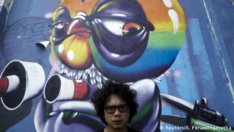 Thailand Protestkunst gegen die staatliche Repression Asin Acid Graffiti-Künstler