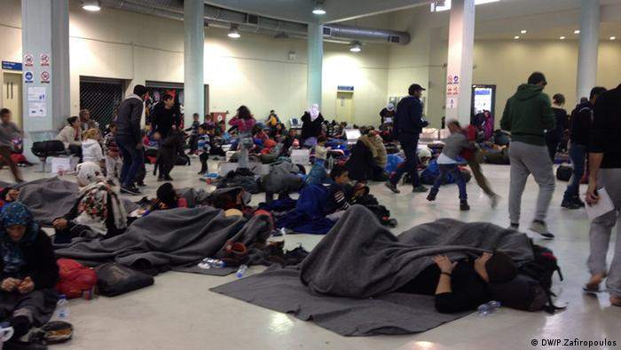 people camping out in port terminal copyright: Pavlos Zafiropoulos