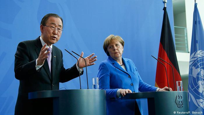 Deutschland Berlin Pressekonferenz Ban Ki Moon und Merkel im Kanzleramt