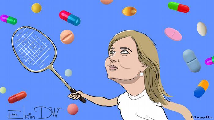 Карикатура Сергея Елкина, посвященная дисквалификации Марии Шарапову
