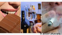 ARCHIV - ILLUSTRATION - Eine Bildkombo zeigt eine junge Frau die von einer Tafel Schokolade abbeißt (am 27.01.2012 in Köln, l-r), ein Glas mit Schnaps vor Flaschen mit Spitrituosen (am 09.06.2009 in Stuttgart) und einen rauchenden Mann mit einer Zigarette (am 25.06.2013 in Stuttgart). Viele Menschen in Deutschland wollen in der Fastenzeit auf etwas verzichten - Süßigkeiten, Alkohol und Zigaretten stehen dabei ganz oben auf der Liste. Foto: Oliver Berg/Bernd Weißbrod/Daniel Bockwoldt/dpa (zu dpa Fasten vom 13.02.2015) +++(c) dpa - Bildfunk+++ Copyright: picture-alliance/dpa