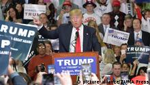 8. 3. 2016 March 7, 2016 - Madison, Mississippi, U.S. - 3/7/2016 Madison,Mississippi On the eve of the Mississippi Presidential Primary Presidential Republican candidate Donald J. Trump stumps to a crowd of Southern voters at Madison Central High School gymnasium. Trump asks the audience to raise their right hands and pledge to vote for him in the primary. Trump spoke about making America great again as Black Lives Matter protestors demonstrated outside. Photo (C): picture-alliance/ZUMA Press