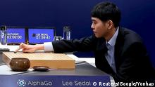 ***Achtung: Verwendung nur in Zusammenhang mit der aktuellen Berichterstattung über das Duell Mensch gegen Computer in Seoul!**** 09.03.2016 ***** The world's top Go player Lee Sedol puts the first stone against Google's artificial intelligence program AlphaGo during the Google DeepMind Challenge Match in Seoul, South Korea, in this handout picture provided by Google and released by Yonhap on March 9, 2016. REUTERS/Google/Yonhap ATTENTION EDITORS - FOR EDITORIAL USE ONLY. NOT FOR SALE FOR MARKETING OR ADVERTISING CAMPAIGNS. THIS IMAGE HAS BEEN SUPPLIED BY A THIRD PARTY. IT IS DISTRIBUTED, EXACTLY AS RECEIVED BY REUTERS, AS A SERVICE TO CLIENTS. SOUTH KOREA OUT. NO COMMERCIAL OR EDITORIAL SALES IN SOUTH KOREA. NO RESALES. NO ARCHIVES. © Reuters/Google/Yonhap