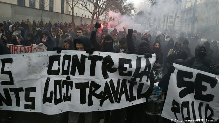Students protesting on the streets of Paris.