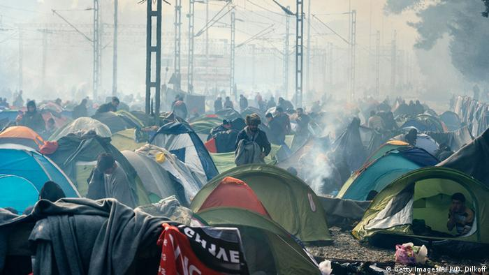 Makeshift camp on Macedonia-Greek border