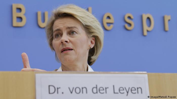 Ursula von der Leyen, German defense minister, holds a press conference in Berlin