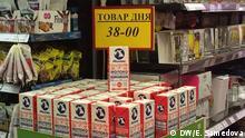 Russland Milchtüten und Preisschild Markt in Moskau