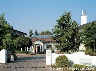 Entrada al hotel HerzogsPark, en Herzogenaurach: una concentración parecida a una estancia (finca) en Argentina.