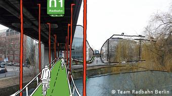 Rendering of a hanging bike bridge across a canal