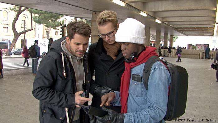 Reporter Jan-Philipp Scholz, Adrian Kriesch und Henry Ogunjimi