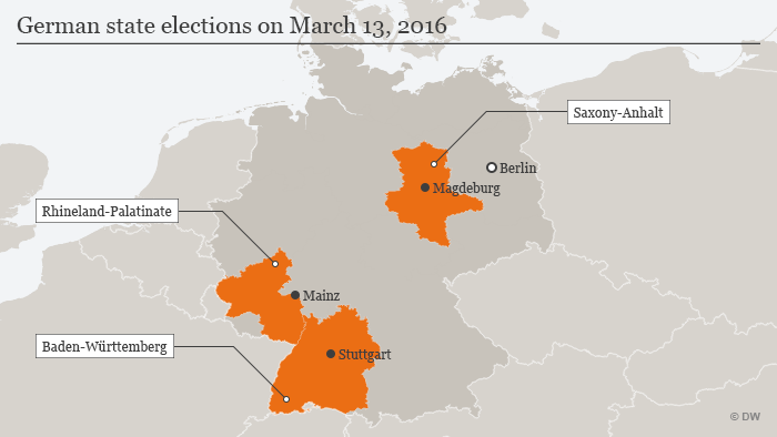 A map showing which German states will hold elections Sunday.