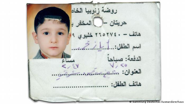 Carteira de identidade do jardim de infância de Ayaz, um refugiado da Síria