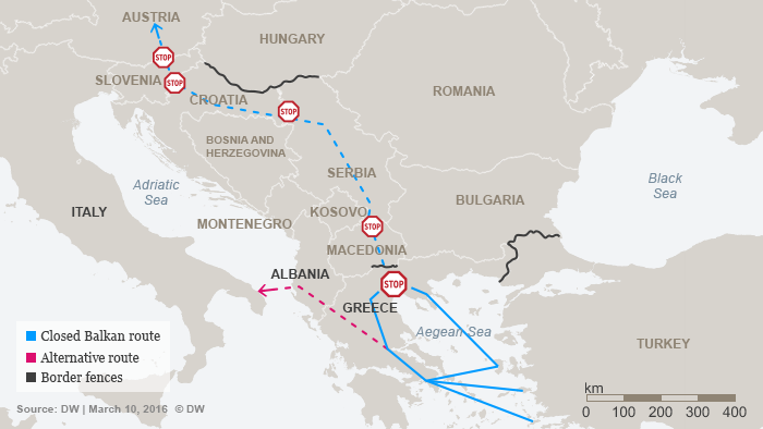 Infografiphic showing closed Balkan route and alternative routes to Europe