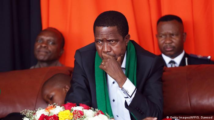 President Edgar Chagwa Lungu watches intently as thousands of Zambians rally Copyright: Getty Images/AFP/S. Dawood