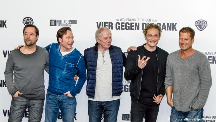 Jan Josef Liefers, Bully Herbig, Wolfgang Petersen, Matthias Schweighöfer, Til Schweiger - cast of Four vs. the Bank (picture-alliance/dpa/C. Bilan)