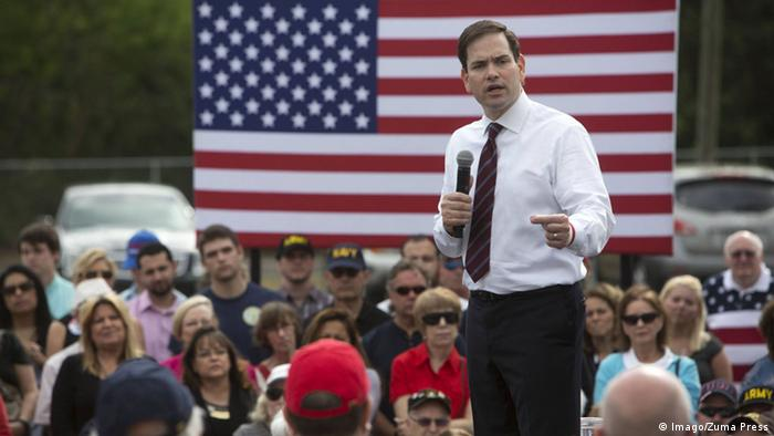 Marco Rubio speaks during a rally for Pinellas County voters outside Beckwith Electric in Largo.