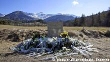 epa05208964 (FILE) A file photograph showing flowers are left in front of the monument in memory to the victims of Germanwings Flight 4U 9525 in Le Vernet, southeastern France, 27 March 2015. The French Le Bureau d'Enquetes et d'Analyses (French Land Transport Accident Investigation Bureau) (BEA), investigation unit report into the crash of Germanwings Flight 4U 9525 is due to be released in Le Bourget France on 13 March 2016. Germanwings Flight 4U 9525, carrying 144 passengers and six crew members from Barcelona, Spain to Duesseldorf, Germany, crashed 24 March in the French Alps. EPA/ALBERTO ESTEVEZ *** Local Caption *** 51863120 Copyright: picture-alliance/dpa/A. Estevez
