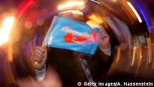 13.3.2016 Bildunterschrift:STUTTGART, GERMANY - MARCH 13: Supporters of the Alternative fuer Deutschland (Alternative for Germany, AfD), react to initial results in Baden-Wuerttemberg state elections at the AfD Election Party at Alte Reithalle Hotel Maritim on March 13, 2016 in Stuttgart, Germany. State elections taking place today in three German states: Rhineland-Palatinate, Saxony-Anhalt and Baden-Wuerttemberg, are a crucial test-case for German Chancellor and Chairwoman of the German Christian Democrats (CDU) Angela Merkel, who has come under increasing pressure over her liberal immigration policy towards migrants and refugees. The populist Alternative fuer Deutschland (Alternative for Germany, AfD), with campaign rhetoric aimed at Germans who are uneasy with so many newcomers, has solid polling numbers and will almost certainly win seats in all three state parliaments. (Photo by Alexander Hassenstein/Getty Images) Getty Images/A. Hassenstein