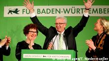 13.3.2016 Bildunterschrift:STUTTGART, GERMANY - MARCH 13: Winfried Kretschmann, incumbent governor of Baden-Wuerttemberg and member of the German Greens Party (Buendnis 90/Die Gruenen), celebrates after the Baden-Wuerttemberg state elections on March 13, 2016 in Stuttgart, Germany. State elections taking place today in three German states: Rhineland-Palatinate, Saxony-Anhalt and Baden-Wuerttemberg, are a crucial test-case for German Chancellor and Chairwoman of the German Christian Democrats (CDU) Angela Merkel, who has come under increasing pressure over her liberal immigration policy towards migrants and refugees. The populist Alternative fuer Deutschland (Alternative for Germany, AfD), with campaign rhetoric aimed at Germans who are uneasy with so many newcomers, has solid polling numbers and will almost certainly win seats in all three state parliaments. (Photo by Thomas Niedermueller/Getty Images) Getty Images/T. Niedermueller