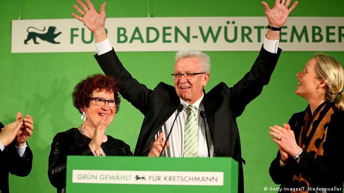 Винфрид Кречман после победы зеленых в Штутгарте