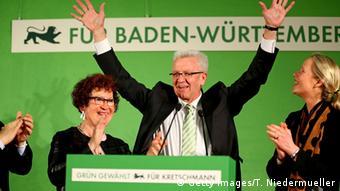 Винфрид Кречман на трибуне после выборов в ландтаг