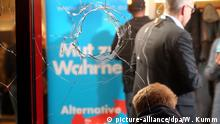 13.3.2016 Unbekannte haben am 13.03.2016 Scheiben des Veranstaltungsortes der Wahlparty der AfD in Berlin eingeworfen. Die Party fand in einem Hostel in Berlin Hohenschönhausen statt. Foto: picture-alliance/dpa/W. Kumm