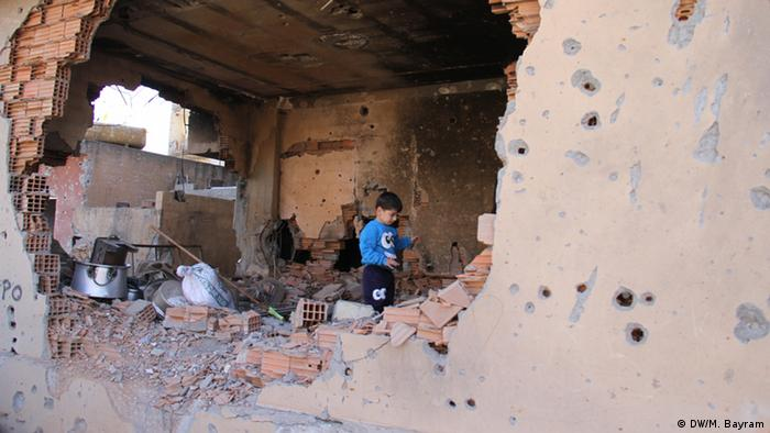 a boy standing in rubble Copyright: Murat Bayram