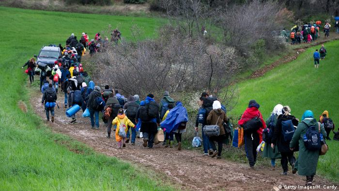 Refugees near Idomeni in Greece