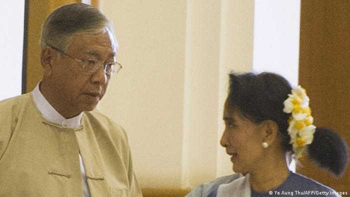 Myanmar Htin Kyaw und Aung San Suu Kyi in Naypyidaw