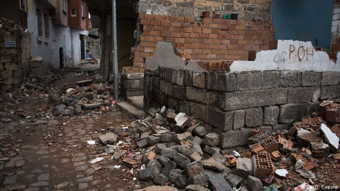 A wall flanked by rubble