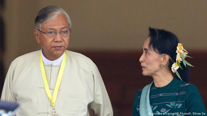 Presidente de Mianmar, Htin Kyaw, e Aung San Suu Kyi