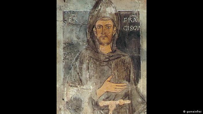 Painting of Franz of Assisi. Man in a hoodd monk's robe looks straight ahead Kloster Sacro Speco in Subiaco