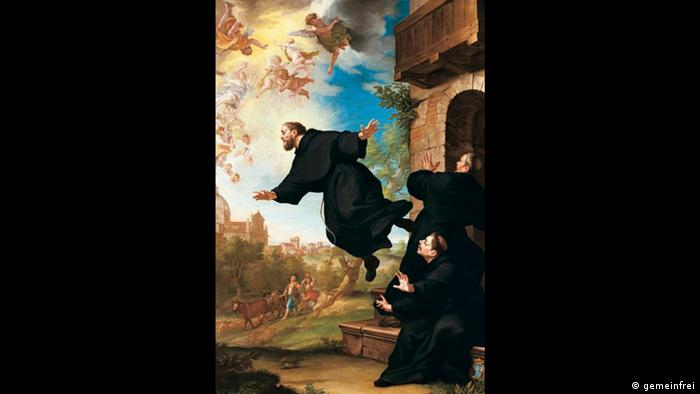 a painting of Joseph of Cupertino, a man in a monk's robe flying away from other monks