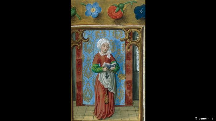 Painting of Saint Martha, a woman with a withe headdress stands, reading a book
