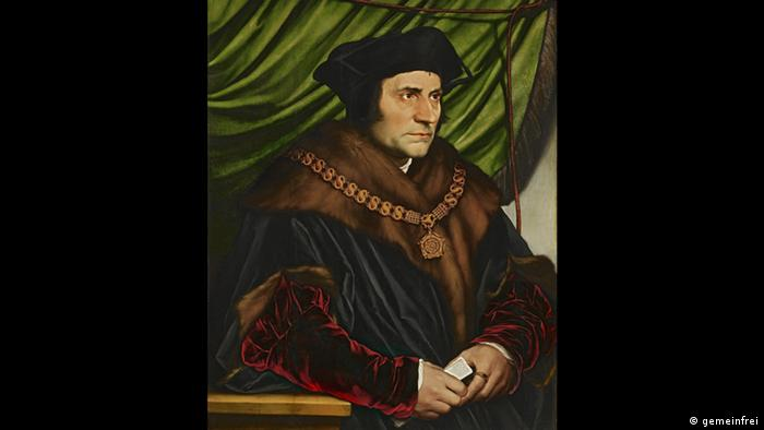 A painting of St. Thomas More, a man in a dark robe and wearing a black hat, looking sombre