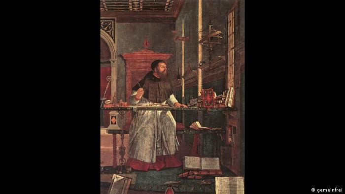A portrait of St.Augustine, a man in the library, with his hands propped on the table, looking out the window
