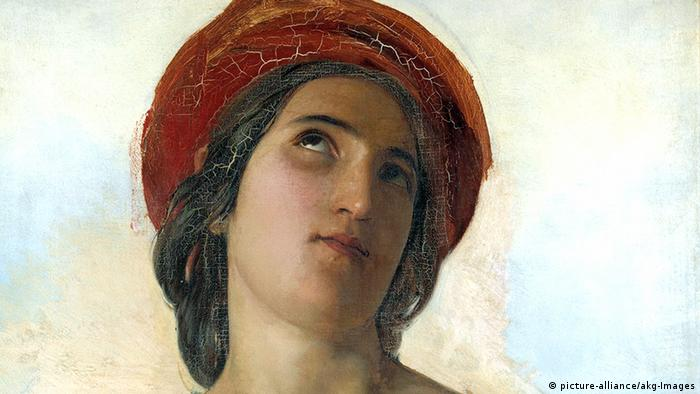 Painting of St.Cecilia , a woman's head, with a red turban on her hair, eyes turned upwards von Robert, Léopold