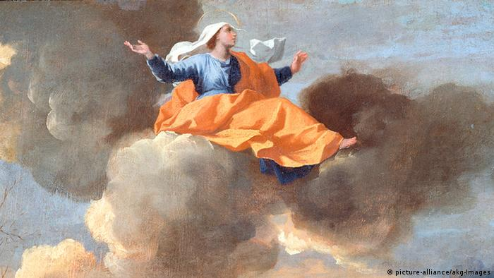 Paiting of Rita of Cascia, a woman sitting on clouds