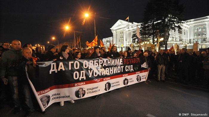 Mazedonien Protest vor dem Verfassungsgericht in Skopje