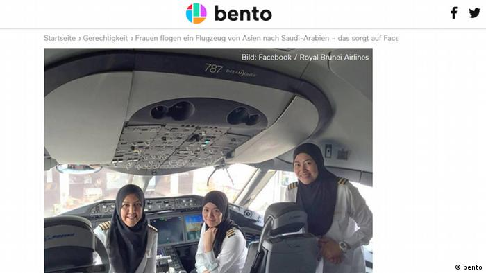 Screenshot bento Royal Brunei Airlines weibliche Piloten (bento)