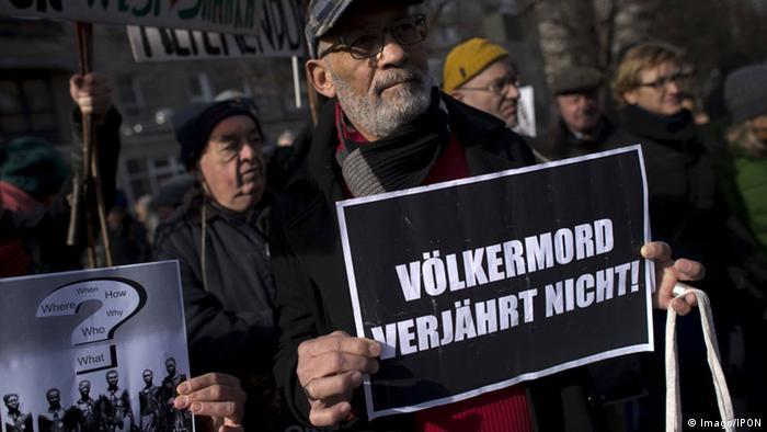 Demonstration in Berlin against the genocide by German troops in Namibi