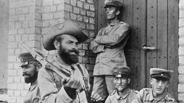 Soldaten des deutschen Kaiserreichs 1904 in der Kolonie Deutsch-Südwestafrika