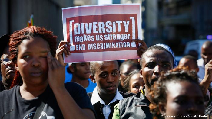 Protest against racism in Cape Town, South Africa.