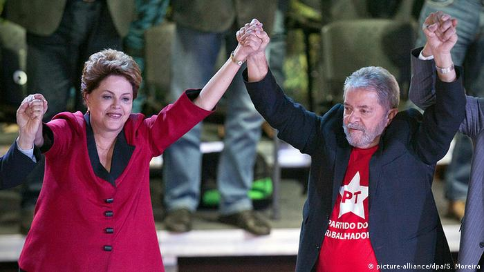 Brasilien Sao Paula PT Parteitag Dilma Rousseff Luiz Inacio Lula (picture-alliance/dpa/S. Moreira)