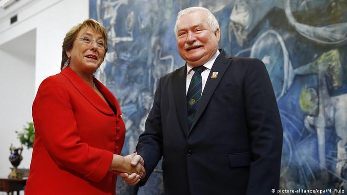 Chile Lech Walesa bei Michelle Bachelet