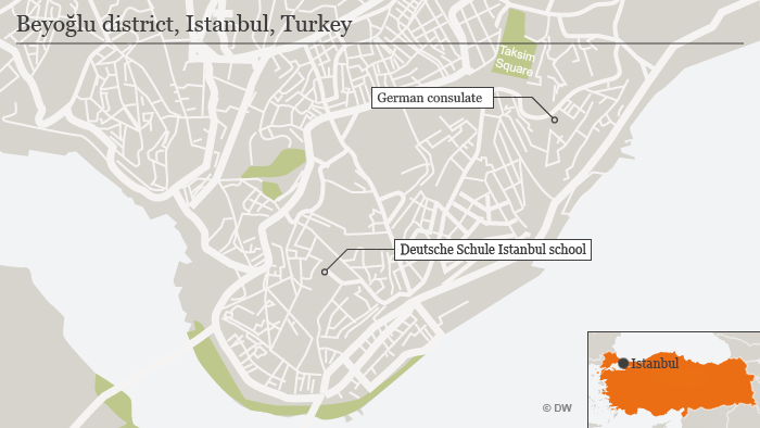 Map of Istanbul, showing the German consulate and German school's locations